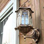 Antique Exterior Wall Light Fixture Aluminum Glass Lantern Outdoor Garden Lamp