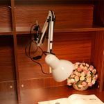 Long Swing Arm Adjustable Clic Desk Lamps E27 LED With Switch Table Lamp For Office Reading Night Light Bedside Home(White)