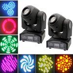 2pcs/set 30W LED Moving Head Stage Light DMX512 Disco Clubs Party Effect Lights US Plug 110V