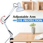 Flexible Swing Arm Clamp Mount Room Office Studio Table Desk Lamp Light White