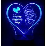 أباجورة بـإضاءة ثلاثية الأبعاد - happy mothers day -  تحكم بالريموت كنترول - ألوان متعددة و أنماط تلقائية للإضاءة