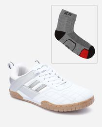 Bundle Of Side Striped Sneakers & Socks - White