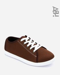 Synthetic Lace Up Sneakers - Brown