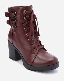 Chunky Heel Combat Boot - Wine