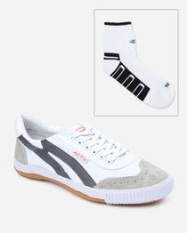 Bundle of Casual Sneakers & Socks - White & Dark Grey