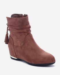 Back Golden Charms Ankle Bootie - Brown