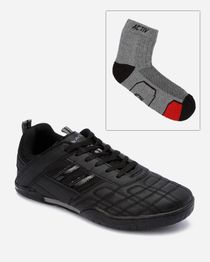 Bundle of Side Striped Sneakers & Socks - Black
