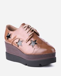 Lace-Up Funky Wedges with Stars Detail - Camel
