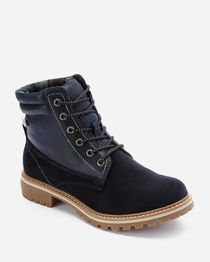 Lace Up Ankle Boots - Navy Blue