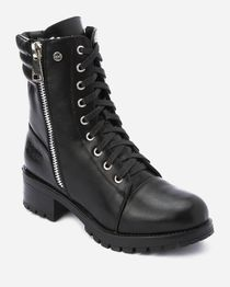 High Top Padded Combat Half Boot - Black