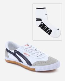 Bundle of Casual Sneakers & Socks - White & Navy