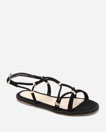 Flat Strappy Gladiator Sandal - Black