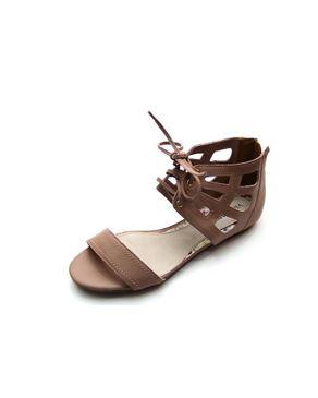 Viamarte Ladies/Women Beige Genuine Leather Cut Out Flat Sandals logo