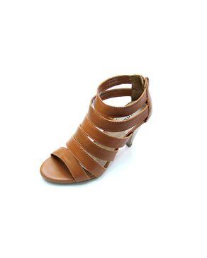 Viamarte Ladies/Women Genuine Leather Multi-strap Heeled Sandals-9817-Camel logo