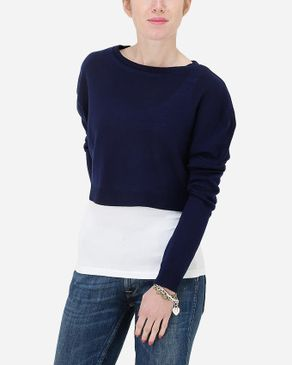 Hot Fashion Solid Cropped Pullover - Navy logo