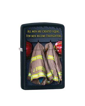 Zippo ZP-28316 Firemen Coats Lighter - Black Matte logo
