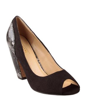Zoom Black Suede Peep Toe Shoes with Decorative Snake Effect Heels logo