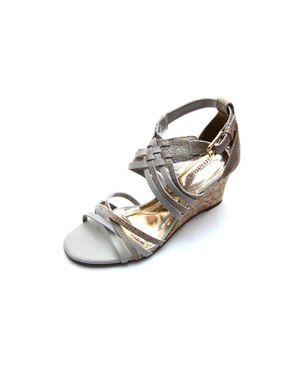 Viamarte Ladies/Women Genuine Leather Multi-strap Wedge Sandals-9848-White & Light Brown logo