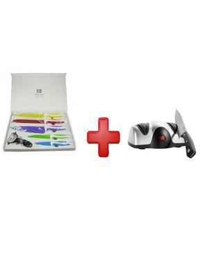 GUG 6Pcs of Ceramic Boxed Colored Knives + Dual Knife Sharpener logo