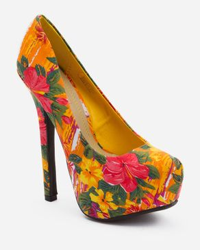 Zoom Multicolored Orange Floral Printed Platform logo
