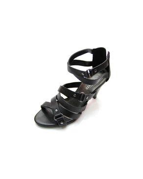 Viamarte Ladies/Women Genuine Leather Heeled Sandals with Decorative Strass-9784-Black logo