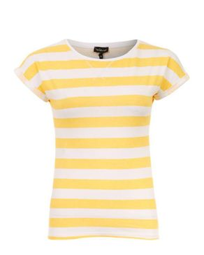 Wave White & Light Mango Cotton Striped Cap Sleeves T-Shirt logo
