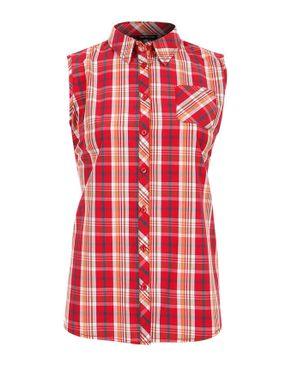 Wave Red Cotton Plaid Sleeveless Shirt logo