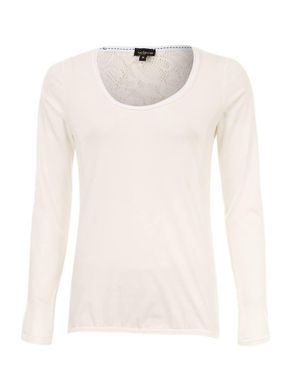 Wave White Cotton Long Sleeves Blouson Blouse with Lace Back logo