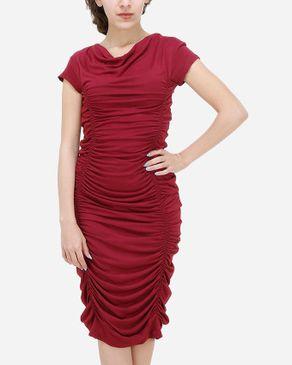 TM a la Mode Draped Bodycon Dress - Burgundy Red logo
