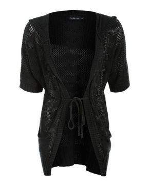 Wave Black Cotton and Viscose Crochet Cardigan logo