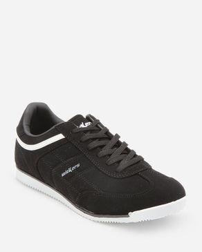 Wickers Men Suede Leather Sneakers - Black logo