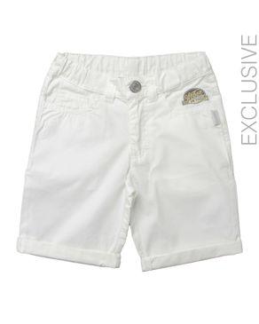 Stummer White Cotton Shorts logo
