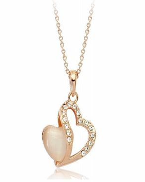 Dinardo Gold 18K Gold Plated Swarovski Necklace with Heart Pendant logo