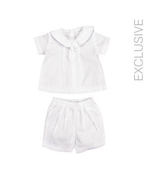 Stummer White Cotton Set of Top and Shorts logo