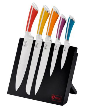 Royalty Line Switzerland Stainless Steel Knife Set with Magnetic Stand - 5 Pieces - Made in Switzerland logo