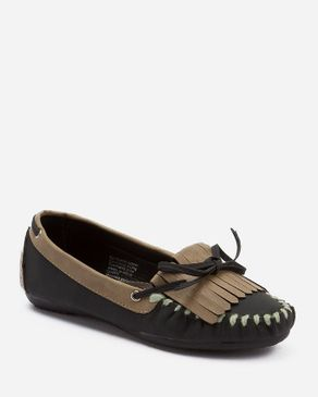 Zoom Black & Tan Leather Moccasin with Decorative Bow logo