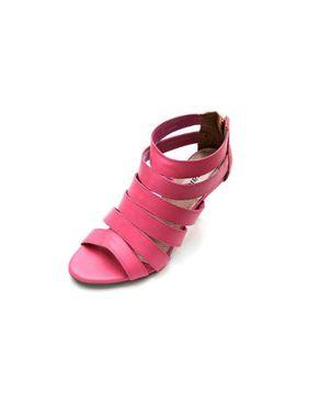 Viamarte Ladies/Women Genuine Leather Multi-strap Heeled Sandals-9821-Fuchsia logo