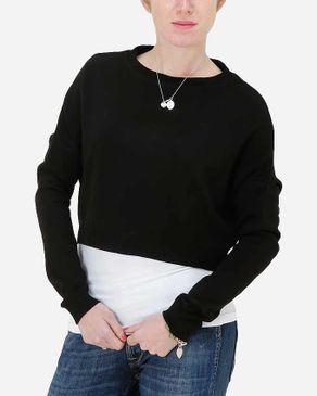 Hot Fashion Solid Cropped Pullover - Black logo