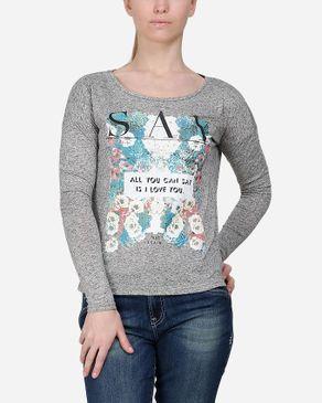 Wave Floral Text Top - Heather Grey logo