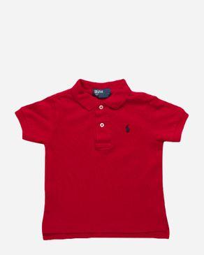 Ralph Lauren Kids Red Cotton Short Sleeve Polo Shirt logo