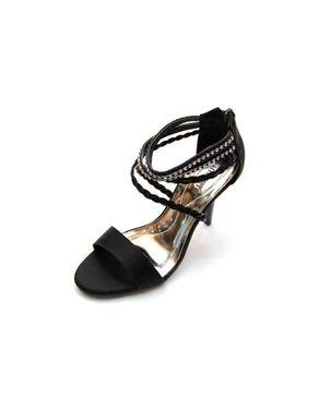 Viamarte Ladies/Women Genuine Leather Heeled Sandals with Braided Strap & Strass-9786-Black logo