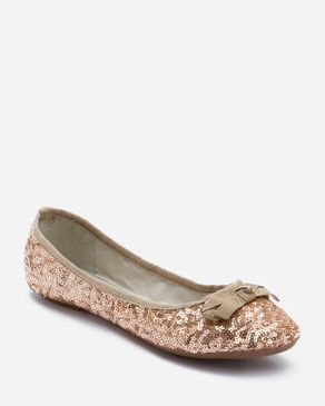 Zoom Copper Sequined Ballerinas with Decortive Bow logo