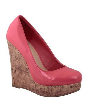 Zoom Coral Patent Leather Cork Wedge Shoes logo