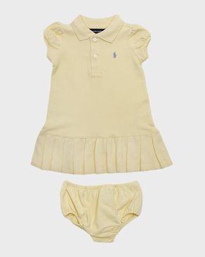 Ralph Lauren Kids Pastel Yellow Cotton Pleated Hem Polo Dress with Bloomers logo