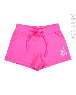 Stummer Fuchsia Cotton Shorts with A Side Print logo