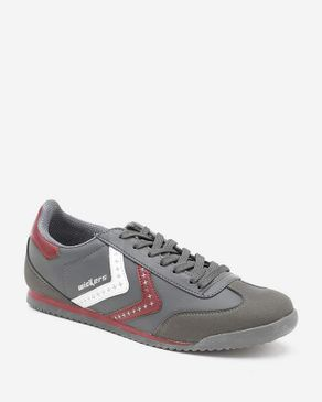 Wickers American Star Sneakers - Dark Grey & Burgundy logo