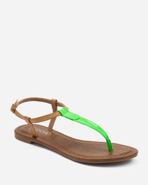 Zoom Camel & Neon Green Leather Thong Sandal logo