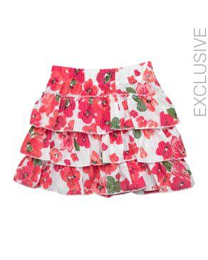Stummer White & Orange Cotton Ruflled Skirt logo