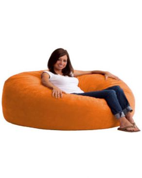 Maniera Velvet Large Round Bean Bag - Orange
