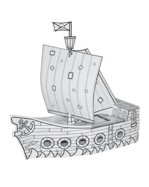 Villa Carton JP000.401.1 Pirate Ship with Drawing - White
